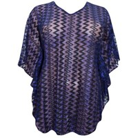 Blue Black Mesh Lace Plus Size Cover Up Kaftan Top