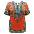 Orange Aqua Plus Size Kaftan Dashiki Top Cover Up