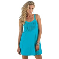 Turquoise One Piece Fringe Plus Size Swimdress Swimsuit