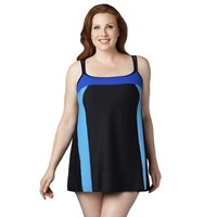 Blues on Black Sporty Style Plus Size Swimdress