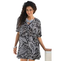 Black Ethnic Paisley Plus Size Long Shirt Tunic Cover Up