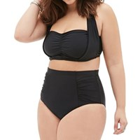 Underwire Bra High Waisted Black Plus Size Bikini Set