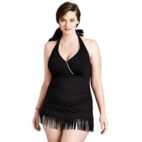 Black White Fringed Halter Plus Size Ruched Swimdress