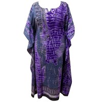 Amethyst Plus Size Tie Dye Long Caftan Cover Up Dress