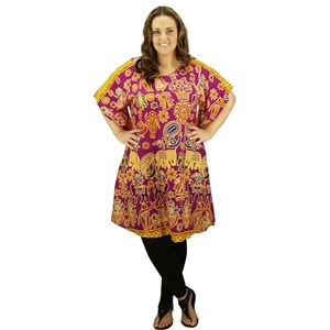 Fuchsia Plus Size Swimwear Cover Up Dress Tunic Long Top