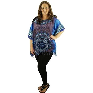 Blue Plus Size Long Top Cover Up Rayon Dashiki Kaftan