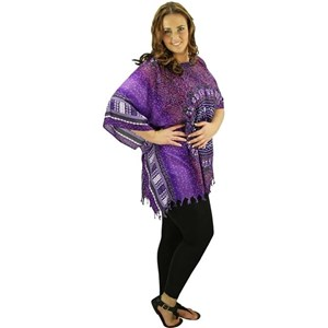 Purple Plus Size Long Top Caftan Cover Up Rayon Dashiki