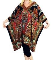Black Red Long Tunic Top Plus Size Caftan Cover Up