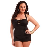 Black Halter Sheath Plus Size Swimdress Pinup Bathers