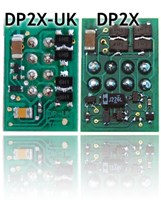 TCS#1287  D2X-UK Direct Plugin Decoder with 8Pins on back of decoder oriented vertically to fit in British Outline locomotives