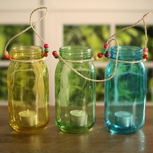 Coloured Hanging Glass Jars