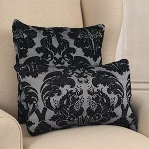 Grey & Black Rose Cushion - Square or Lumbar