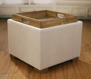 Ottoman Lotus Storage Stool 100% Linen