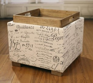 Ottoman Lotus Storage Stool French Script