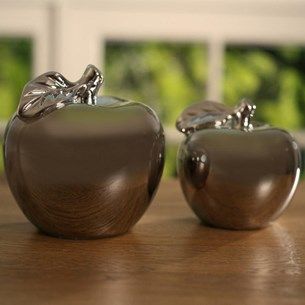 Silver Ceramic Apples