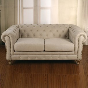 Sofa Three Seater 100% Linen 'Chesterfield'