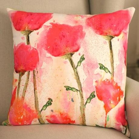 Pink Flowers Square Cushion