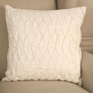 Ruched Cotton Cushion - White