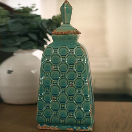 Ceramic Canister 'Diamond' - Teal