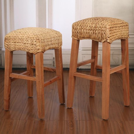 Woven Seagrass Honey Stool - Breakfast or Bar Height