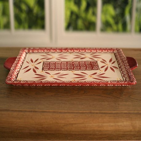 Red Flower Serving Tray