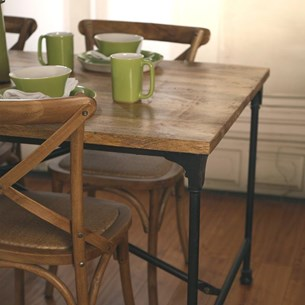 Five Piece Rustic Hardwood Dining Table - 'Industry Collection'