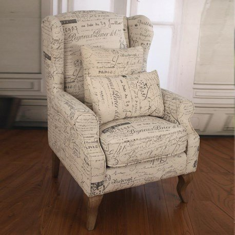 French Script Linen Wingback