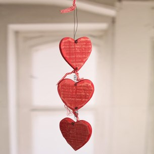 Hanging Wooden Hearts