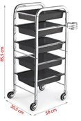 'Satin' Metal framed salon trolley in black, with hair dryer holder, 5 trays