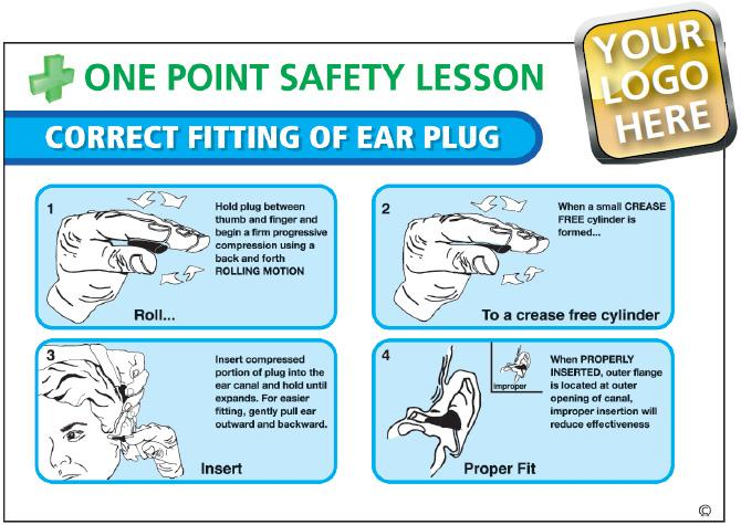 Correct Fitting Of Ear Plug Poster - With Your Logo