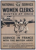WOMEN CLERKS WANTED AT ONCE! First World War Propaganda Poster