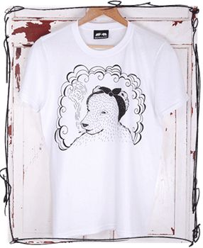 Headscarf Bear - White T-Shirt