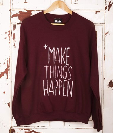 'Make Things Happen' Burgundy Jumper