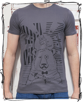 'Cocktail Bear' - Charcoal T-Shirt