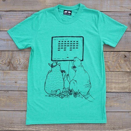 'Space Invaders' T-Shirt - Grey or Green
