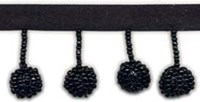 1 Inch Beaded Ball Fringe - Black