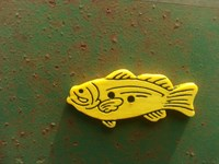 fish button sunny yellow 2inches