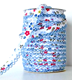 Blue red floral lace bias binding (double fold) PRICED PER METRE