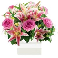 Lilies & Roses Pink Tones, Arrangements From $65