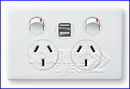 Legrand - Double GPO Power Point With Dual USB Charger EMUSB2PSWE + ED777XWE