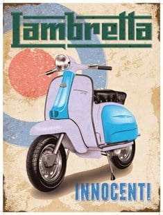 Lambretta Innocenti - Target - A3 Metal Wall Sign