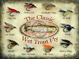Classic Wet Trout Fly  - Metal Wall Sign (2 sizes)