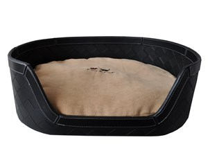 Woven PU Leather & Sensuede Pet Bed - Black