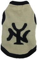 Handknitted New York Dog Sweater (Navy/Cream)