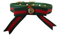 Handmade Red & Green Puppy Collar & Lead Set
