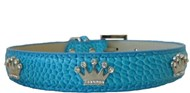 Handmade Blue Leather & Crystal Crown Dog Collar