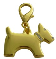 Terrier Dog Crystal Charm (Gold)