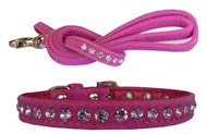 Handmade Hot Pink Velvet & Crystal Puppy Collar, ID & Lead Set
