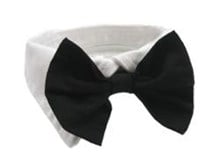 Wedding Bowtie Black with White Collar