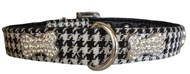 Handmade Houndstooth & Crystal Bone Dog Collar (Black & White)
